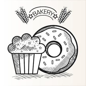 Рука обращается пончик и кекс с пекарня знак на белом фоне. векторные иллюстрации.