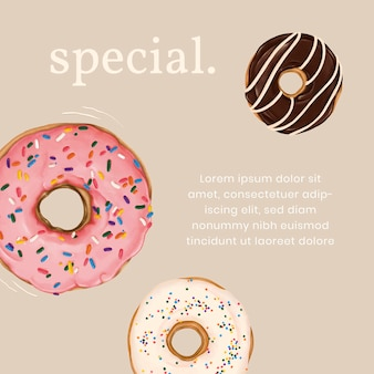 Hand drawn donut instagram ad template