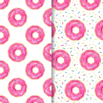 Hand drawn donut pattern set