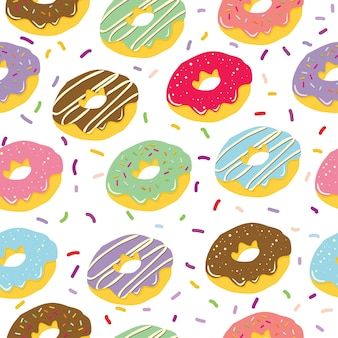 Hand drawn donut seamless pattern in white background