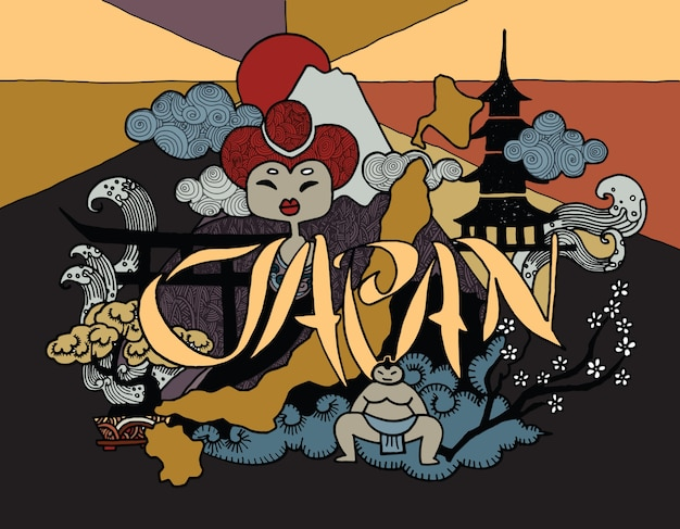 日本に旅行のテーマを描いた手描きの落書き