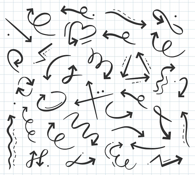 Hand drawn doodle arrow in various directions curly cursor pointers up down left right rotating sign