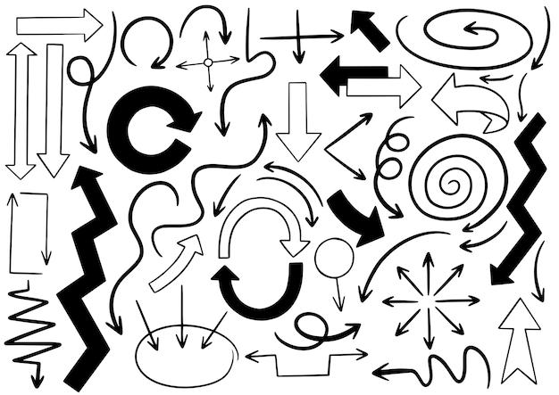 Hand drawn doodle arrows set