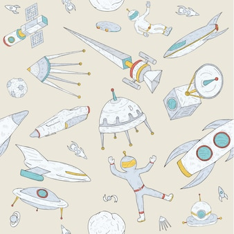 Hand drawn doodle astronomy seamless pattern. objects, planets,shuttles, rockets, satellites and cosmonaut. colorful.