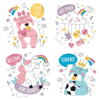 Hand drawn doodle baby shower sticker collection