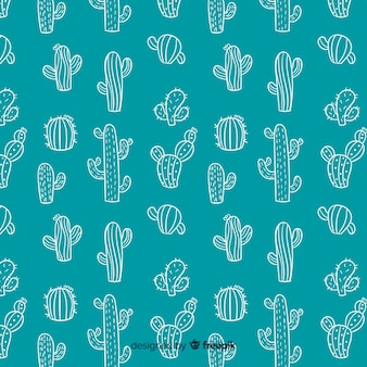 Hand drawn doodle cactus background