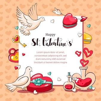 聖バレンタインの日の手描き落書きカード。