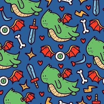 Hand drawn doodle cartoon dragon seamless pattern design Premium Vector