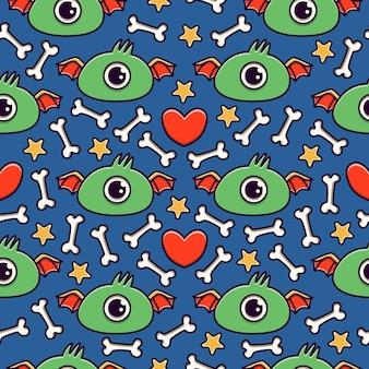 손으로 그린 낙서 만화 괴물 완벽 한 패턴 디자인