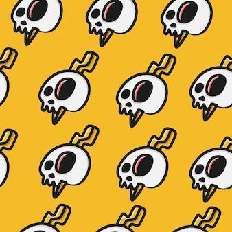 Hand drawn doodle cartoon skull pattern