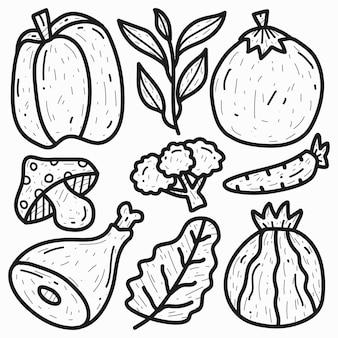 손으로 그린 낙서 만화 야채 디자인