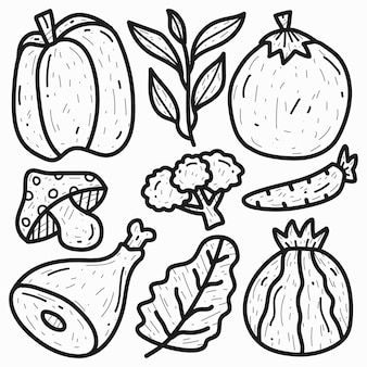 Hand drawn doodle cartoon vegetable design