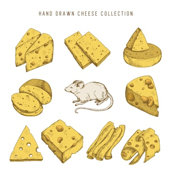 Hand drawn doodle cheese set
