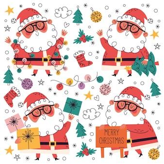 Collezione natalizia disegnata a mano + doodle