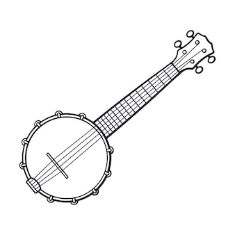 Hand drawn doodle of classical country music banjo vector illustration