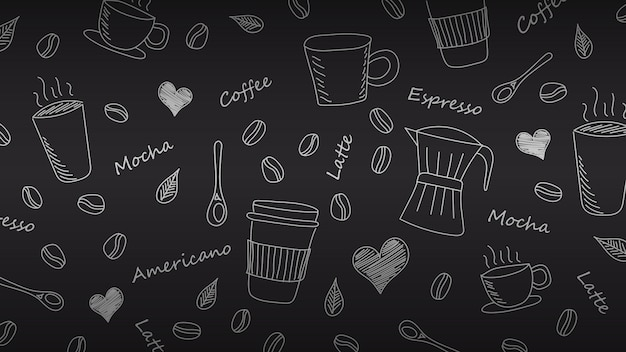 Hand drawn doodle coffee background