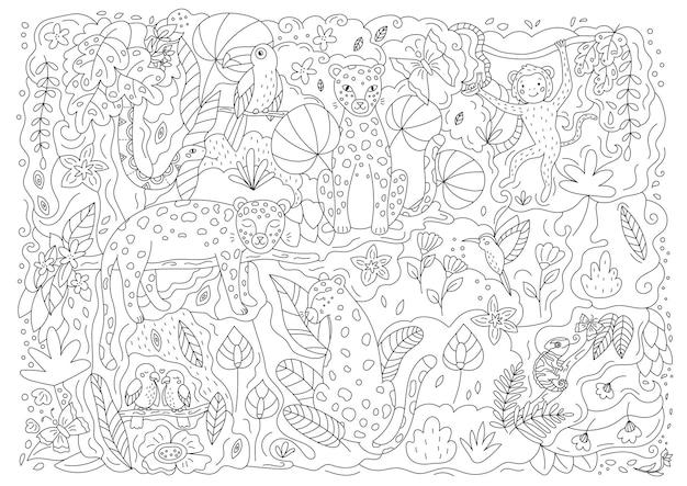 야생 동물과 함께 손으로 그린 낙서 색칠 공부 페이지