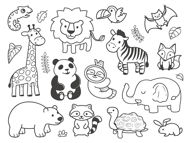 Hand drawn doodle cute animals