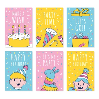 Hand drawn doodle cute birthday card collection template