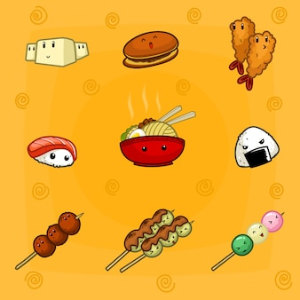 Hand drawn doodle cute japanese food cartoon collection set