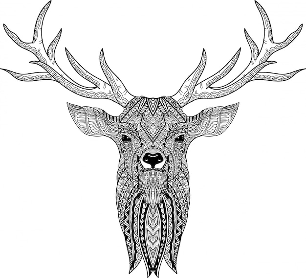 Hand drawn of doodle deer in zentangle style