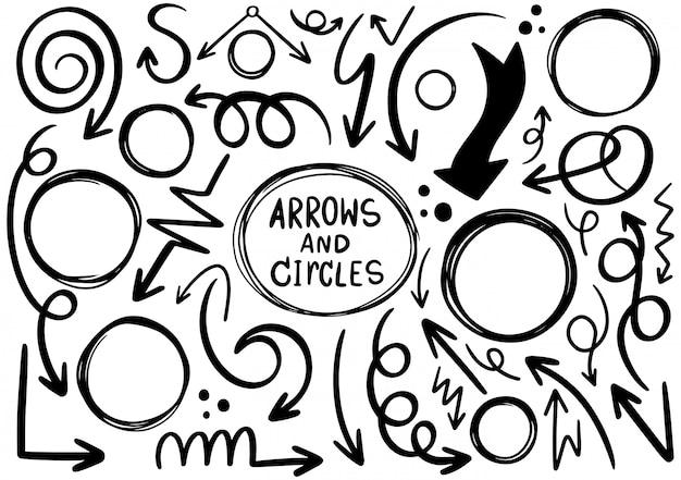 手描き落書きデザインの矢印と円の要素。