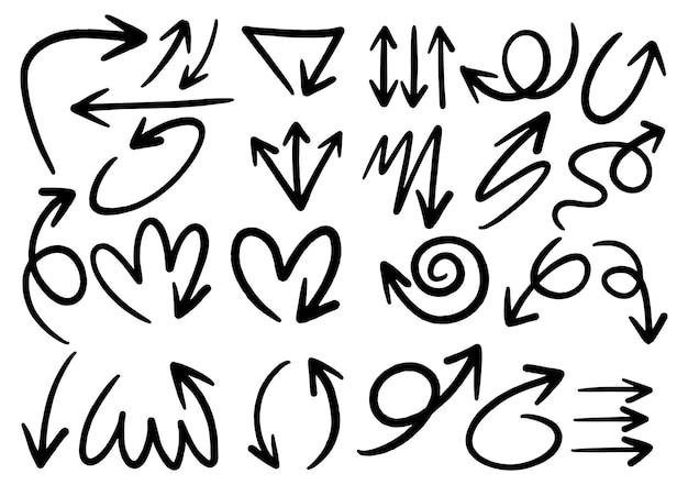 손으로 그린 낙서 디자인 요소입니다. 손으로 그린 화살표, 프레임, 테두리, 아이콘 및 기호. 만화 스타일 인포 그래픽 요소입니다. 흰 바탕.