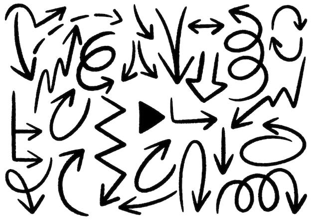 Элементы дизайна рисованной каракули. рука нарисованные стрелки, рамки, границы, значки и символы. элементы инфографики в мультяшном стиле. белый фон.