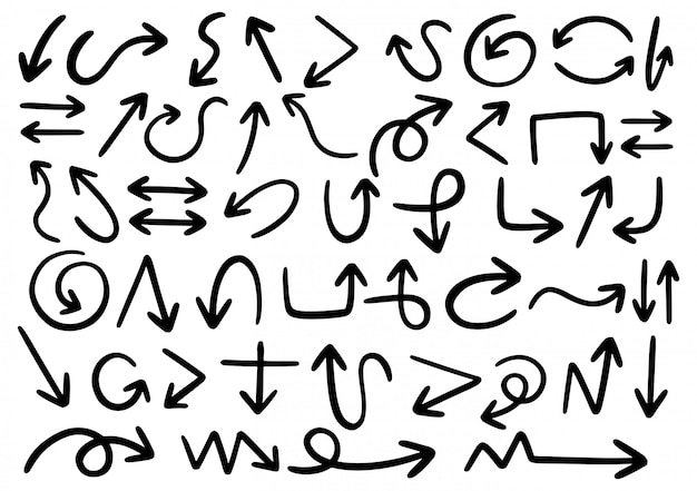 Рисованной каракули элементы дизайна. ручной обращается стрелки, рамки, границы, значки и символы.