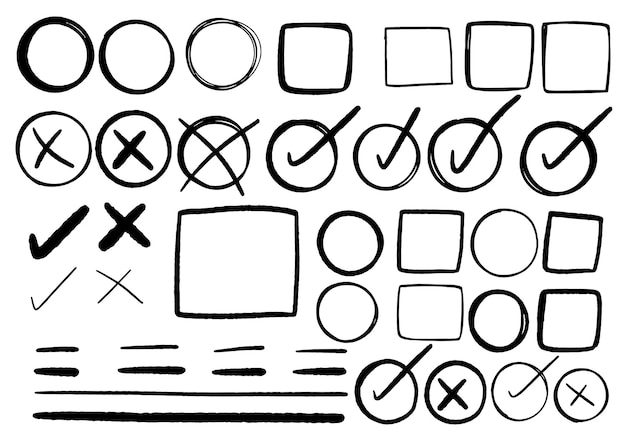 손으로 그린 낙서 디자인 그래픽 요소입니다. 손으로 그린 화살표 원과 추상적인 낙서 디자인. 흰 바탕.