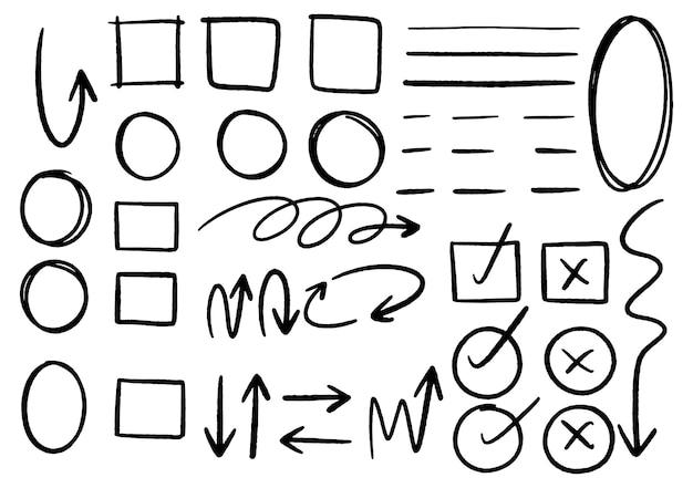 手描きの落書きデザインのグラフィック要素。手描きの矢印の円と抽象的な落書きの書き込みデザイン。白色の背景。
