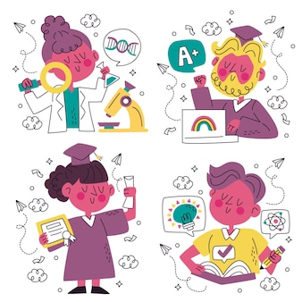 손으로 그린 낙서 교육 스티커 컬렉션