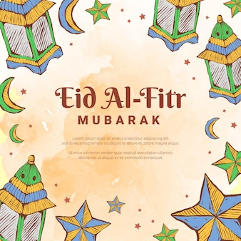 Hand drawn doodle of eid al fitr lantern and star with watercolor background