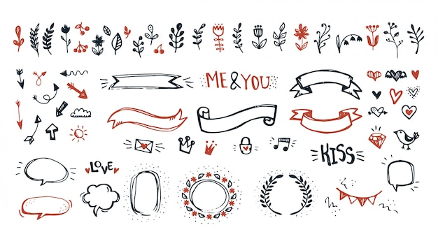 Hand drawn doodle elements