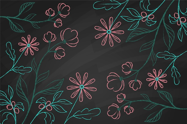 Рисованной каракули цветы на фоне доски