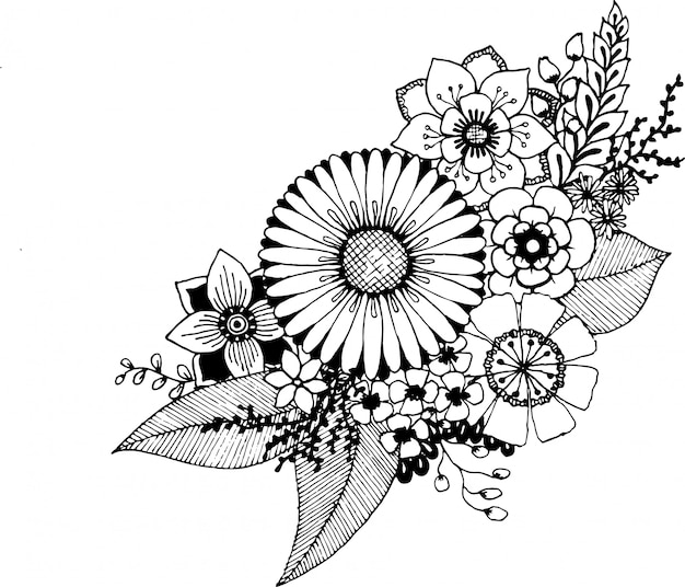Hand drawn doodle flowers