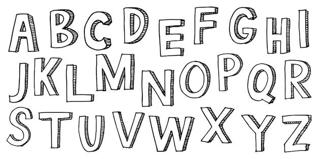 손으로 그린 낙서 글꼴입니다. 스케치 알파벳의 집합입니다. 손으로 그린 타이포그래피. 벡터 일러스트 레이 션