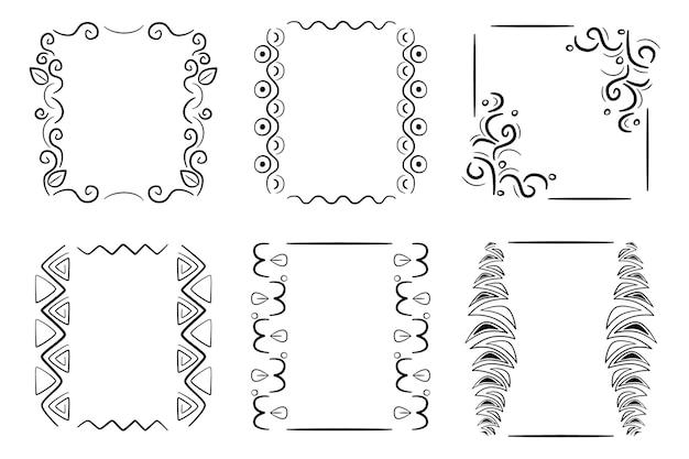 Collezione di cornici per scarabocchi disegnati a mano