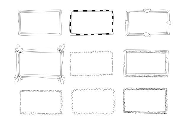 Pacchetto di decorazioni per cornici doodle disegnato a mano