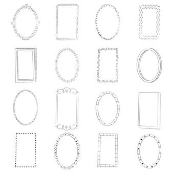 Hand drawn doodle frame ornament collection