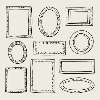 Pacchetto di cornici doodle disegnato a mano