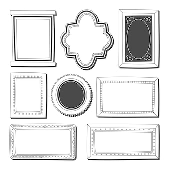 Hand drawn doodle frames collection