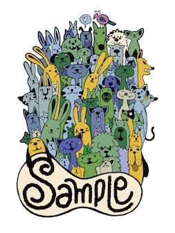 Hand drawn doodle funny pet set, vector illustration.