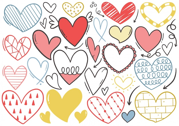 Hand drawn doodle heart collection