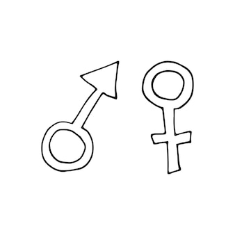 성별 기호로 손으로 그린 낙서 그림입니다. 화장실 컨셉 디자인. 화성과 베네라 기호입니다. 흰색 배경에 고립