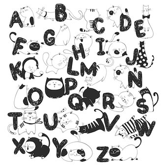 Hand drawn doodle kids alphabet with funny cats
