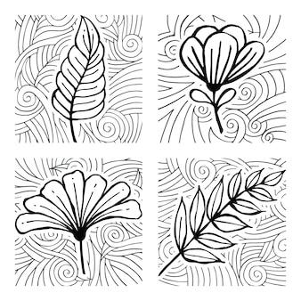 Hand drawn doodle leaf pattern set