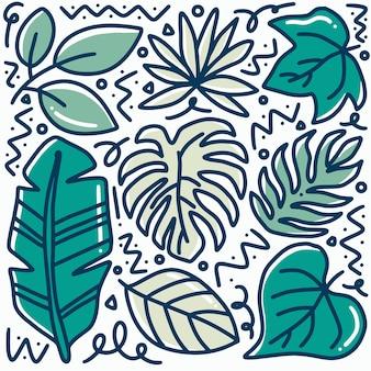 손으로 그린 낙서 잎 아이콘 및 디자인 요소 설정