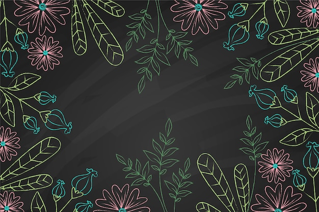 Hand drawn doodle leaves and flowers background