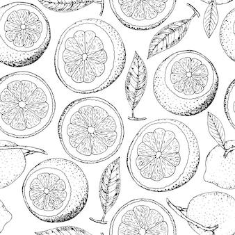 손으로 그린 낙서 레몬 원활한 패턴입니다. 감귤류 과일.